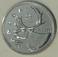 1992 Canada Proof-Like Caribou Double Date 25 Cents