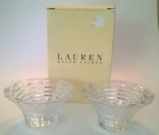Ralph Lauren Set of 2 Lead Crystal Votive Crosby Pattern Marked RL Discontinued