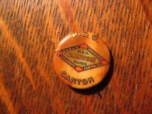 P&O Plows Lapel Pin - Vintage Parlin And Orendorff Canton Illinois USA Button