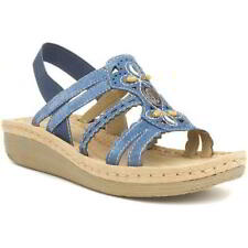 Earth Spirit Portland Womens Ladies Blue Strappy Leather Sandals Size 4-9