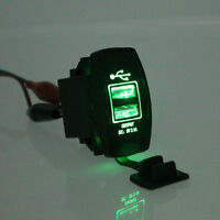1X Truck Boat Car Auto Green LED Backlit Rocker Switch Dual USB 12V-24V Charger