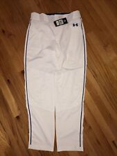 Under Armour Baseball Pants Men's Size Large White/Blue Piping *Vents In Legs