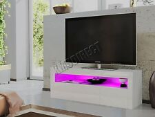 FoxHunter High Gloss Matt TV Cabinet Unit Stand White RGB LED Light Home TVC08