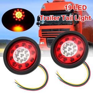 LED TRUCK TAIL TURN SIGNAL BRAKE STOP LIGHTS ROUND TRAILER LORRY CARAVAN 12V-24V