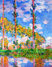 Poplars in the Sun A2 by Claude Monet High Quality Canvas Print