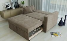 2 Seat Sofa Bed Taupe Fabric Click Clack Pull Out Living Room Sofabed 2 Seater