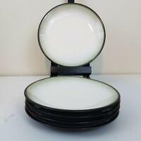 "Sango Nova Black Rim Grey Center 4932 Set of 5 Salad Plates 7.75"""