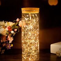 2M 20 LEDs LED Draht Micro Batterie Lichterkette warmweiß biegsam Mini Mikro ~ly