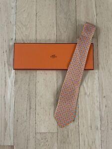 Vintage orange hermès Hippo tie