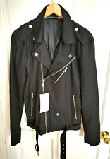 ZARA Men's NEW Black Biker Jacket Silver Zip and Belt Hardware Size S Small 36