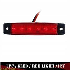 1x Red 6 LED Side Marker Lamp Clearance Trailer Light Indicator Truck Van 12V DC