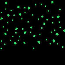100PC Kids Bedroom Beautiful Fluorescent Glow In The Dark Stars Wall Stickers