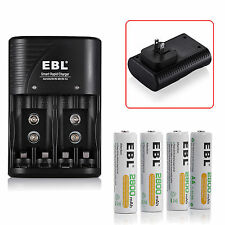 4Pcs 2800mAh AA Rechargeable Batteries + Ni-MH 9V AAA Ni-CD Smart Rapid Charger