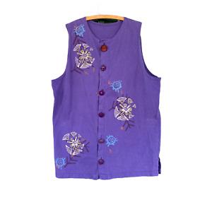 Blue Fish 1996 Artwear Vest with Fabulous Buttons -1- Purple Heavy Cotton Jersey