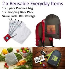 2 x Onya Reusable Shopping Bags - Back Pack & Produce - Value 2 pack -Boab Tree