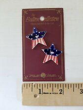 NEW Mill Hill Handmade Ceramic Button Set Cross Stitch AMERICAN FLAG STARS