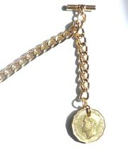 Threepence/Thruppence/3d  GEORGE VI Gold Tone Albert Pocket WATCH CHAIN/Fob