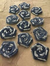 12 Rustic Denim and Lace Flower with Pearl Country Western Outdoor Wedding