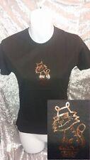BNWT Black/Gold-Bronze Metallic EASY TIGER Retro/Kawaii/Summer/Cute Tshirt/Top S