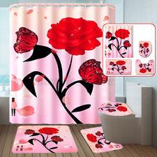 Red Rose Flower Shower Curtain Bath Mat Toilet Cover Rug Bathroom Decor
