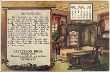 Patterson Bros. Furniture Butler PA 1910 Calendar Postcard