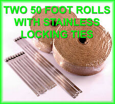 TAN EXHAUST HEAT HEADER TURBO PIPE WRAP 2 X 50 FT 2 ROLLS STAINLESS LOCK TIES