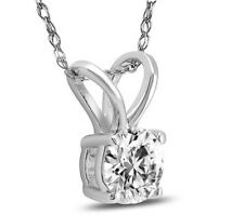 """pendant 14k White gold With 18"""" Chain 0.95 ct Round Cut G/Si Solitaire diamond"""