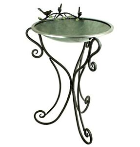 Birdbath Galvanized Metal Bowl with Iron Base