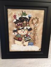 Adorable Hand Nicely Painted SNOWMAN Framed Table Top Print Holiday Decor UNIQUE
