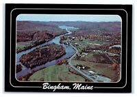 """Postcard Aerial View of Bingham, Maine ME """"Gateway to Maine Forest"""" K12"""