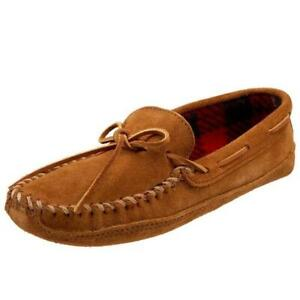 Minnetonka Mens Double Bottom  Brown Suede Moccasin Slippers Shoes 11 BHFO 1051