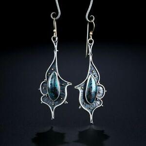 Vintage Turquoise 925 Silver Women Earrings Ear Hook Fashion Dangle Drop Jewelry