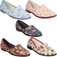 Spot On LS40 Ladies Black Floral Textile Slippers R7A