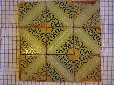 9 riggiole mattonelle ceramica antiche spessore 2 cm napoletane verdi lotto132