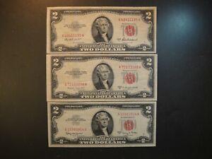 Trio (3) US S $2 Legal Tender Notes. 1953-A Fine, 1953-B VF & 1963-A Extra Fine.