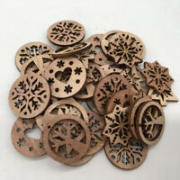 50pcs Christmas Snowflake Wooden Cardmaking Hanging Ornament Embellishment Craft