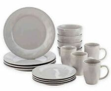 Dinnerware Set Sea Salt Gray 16 Piece Stoneware Plates Bowls Mugs Dinner Dishes
