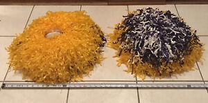 Large Vintage Dehen Gold, Purple, White Cheerleader Pom Pons W/ Original Bag