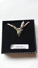 C19 Long-Eared Bat Motif Pewter  PENDENT ON A PINK CORD Necklace Handmade
