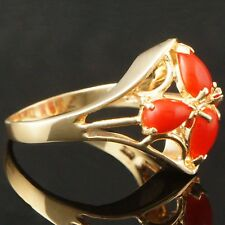 Beautiful Solid 14K Yellow Gold, Four Natural Coral Estate Ring, NR!