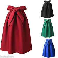 New Women Ladies Vintage High Waist Plain Skater Flared Pleated Long Skirt Dress