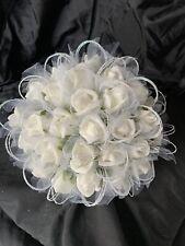 New Ivory Cream Bride/Bridesmaid Poly Foam Hand Tied Wedding Bridal Bouquet 25Cm