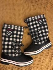 Roxy Go Snow Mid Calf Vegan Black White Plaid Winter Rain Snow Boots Size 8 EUC