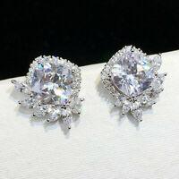 Elegant 925 Silver Stud Earrings for Women White Sapphire Jewelry Gift