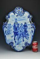 """22"""" Antique Delft Faience Porcelain Tile Plaque Tichelaar Makkum Horse & Sleigh"""