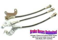 STAINLESS BRAKE HOSE SET Ford Country Sedan 1967 Late, After 10-15-1966 - Disc