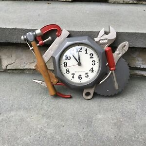 Vintage Garage Tool Time Round Wall Clock 1986 Rare