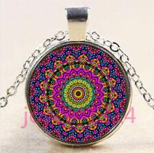 Vintage Mandala Cabochon Tibetan silver Glass Chain Pendant Necklace #4391