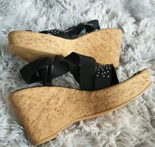 Great Condition Tu Black Cork Wedge Shoes size  7