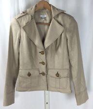 Cache Gold Shimmer Linen Metallic Blazer Coat Gold Buttons Down Sz. XS